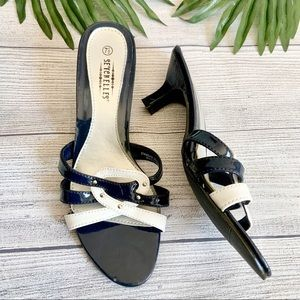 Seychelles Navy and White Sandals, Size 7.5